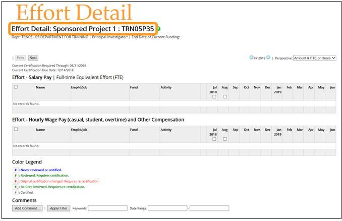 Screen shot of the Effort Detail page in the Labor Accounting System