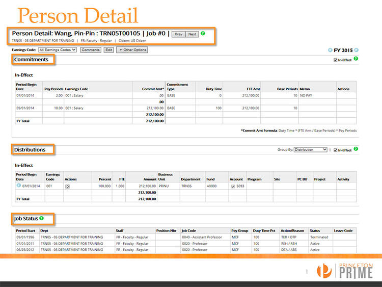 A report from person detail in Labor Accounting System.